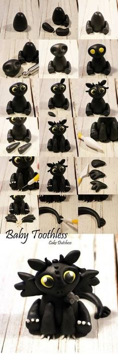 Toothless fondant tutorial Easy fondant modeling tutorial of Toothless - How to train your dragon movie by Cake Dutchess. Toothless fondant tutorial Easy fondant modeling tutorial of Toothless - How to train your dragon movie by Cake Dutchess. Fimo Clay, Polymer Clay Projects, Polymer Clay Charms, Polymer Clay Creations, Clay Crafts, Polymer Clay Dragon, Polymer Clay Figures, Ceramics Projects, Clay Beads