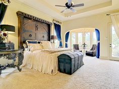 Love love love the headboard! Elegant and master suite in a style Texas Love the and trunk. 8901 Ladera Court in Benbrook near downtown Fort Worth. Home Decor Bedroom, Home Bedroom, Old World Bedroom, Bedroom Design, Luxurious Bedrooms, Dreamy Bedrooms, Bedroom Sets, Home Decor, Modern Bedroom Furniture