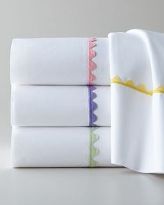 Waves Sheets by Peter Reed at Neiman Marcus. Neiman Marcus, Luxury Bed Sheets, Luxury Linens, Patchwork Quilt, Egyptian Cotton Sheets, Baby Crafts, Tea Towels, Fabric Flowers, Hand Embroidery