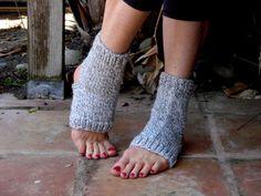 Yoga Pilates Dance Socks in Gray Tweed by KnitsKnotsNStitches