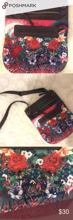 Desigual Paulina Purse. Today is my favourite day! Super cute. Never used. I can't decide which side is cuter...the back or the front!!🏵💕🍓Unique and fun! Great for travel. Deep zippered pocket on front under embroidered logo, and another pocket under that!  Measures 9 1/2 inches wide, 12 inches deep. Strap measures 50 inches and fully adjustable and removable. Desigual Bags Crossbody Bags