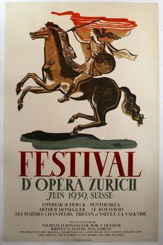 Festival d'Opera Zurich, 1939 - original vintage poster listed on AntikBar.co.uk