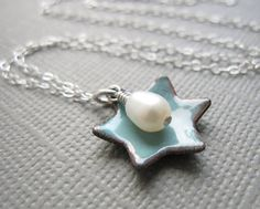 Dusk Blue Jewish Star of David Necklace Enamel by Armillatadesigns, $36.00