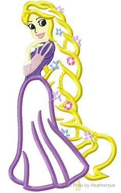 Punzel Full Body Princess Machine Applique Embroidery Design, Multiple sizes including 4 inch