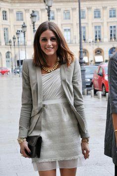 olivia palermo, bad attitude, fabulous clothes!! love the grey blazer!!
