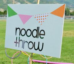 Backyard Olympic Games  host a party for the Olympics right in your backyard. There are some super fun ideas and games like this noodle toss.