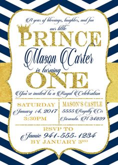 Prince First Birthday Party Invitation by SimplyKayleeDesigns