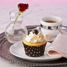 Better than flowers. A simple and elegant Mother's Day treat. Vanilla Swiss Cupcakes, gluten free.