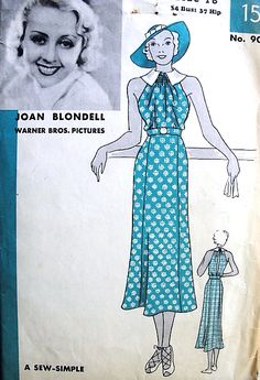 1930s GORGEOUS Art Deco Sleeveless Dress Pattern Sew Simple HOLLYWOOD 909 Featuring Movie Star Joan Blondell Day or Evening Bust 34 Vintage Sewing Pattern