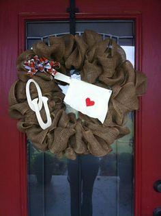 OU ~ University of Oklahoma Burlap Wreath
