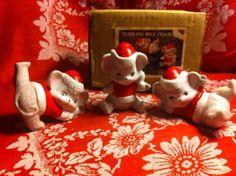 VINTAGE TUMBLING MICE SET  FIGURINE CHRISTMAS MINT ORIGINAL BOX
