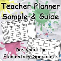 FREE Teacher Planner Lesson Planning Guide: this is the hub for all of the teacher planner and binder sets designed specifically for elementary specialists. There are 5 different lesson planning formats, each in 6 different designs, plus plenty of add-ons to customize your binder to fit your needs. PLUS this guide has tips for how to get the most out of your new planner. Get organized this school year!