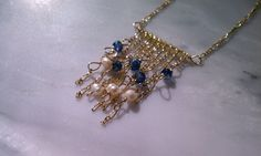 Fringe necklace with kyanite and pearls on by FireflyGemstones