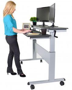 Mobile Ergonomic Stand Up Desk Computer Workstation, Adjustable Height | Adjustable  Standing Desk | Pinterest | Desks And Monitor