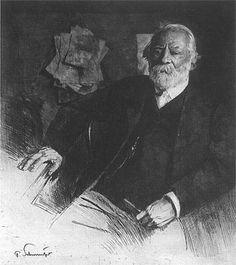 Theodor Leschetizky [born Teodor Leszetycki] (1830-1915), etching (1911), by Ferdinand Schmutzer (1870-1928).