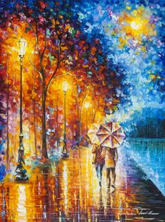 Beautiful original oil painting by famous artist leonid afremov. the painting is stretched and ready to hang. painting painted with a palette knife. Rain Painting, Oil Painting Abstract, Knife Painting, Art Oil Paintings, Original Paintings, Painting Trees, Painting People, Painting Wallpaper, Painting Flowers