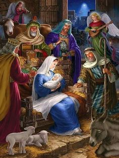 Holy Night is a 400 piece jigsaw puzzle by Cobble Hill featuring the Nativity Scene of Jesus Christ and measures at 24 Nativity House, Christmas Nativity Scene, Christmas Scenes, Christmas Pictures, Winter Christmas, Merry Christmas, Christmas Decor, Illustration Noel, Illustrations