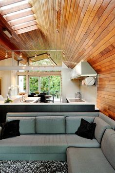 modern wood paneling arched ceiling