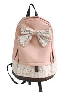 Amazon.com: Cute Lace College Style Leisure PU leather Backpack Lovely Bow Rucksack: Sports & Outdoors