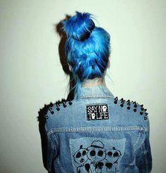#bluehair #spikes #grunge #grungefashion #pastel #ombre #hipster