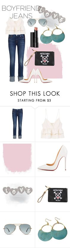 """Love my boyfriend....jeans"" by darlene-escano ❤ liked on Polyvore featuring 7 For All Mankind, MANGO, Christian Louboutin, Moschino, Ray-Ban and Arbonne"