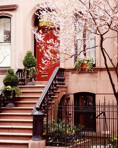New York City Photography Print - NYC Picture - West Village Photo - Urban Home Decor - Red Door Wall Art - Cherry Blossoms - Front Steps New York City, Spring In New York, Nyc Spring, Urban Home Decor, Village Photos, Front Steps, Exterior, West Village, City Photography