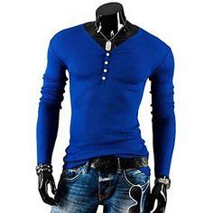 Men's Casual Fashion V-hals T-shirt - EUR € 11.85 Shirt Pelle