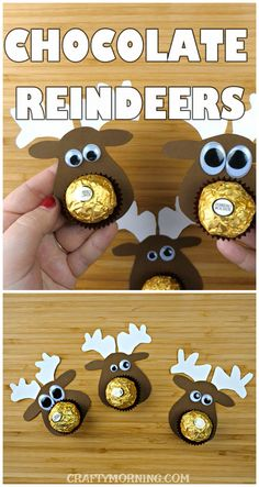 Make these cute chocolate reindeer treats for a Christmas gift! Using ferrero rocher candy, these are ado Make these cute chocolate reindeer treats for a Christmas gift! Using ferrero rocher candy, these are adorable for kids! Easy Diy Christmas Gifts, Christmas Gift Baskets, Christmas Mason Jars, Christmas Gifts For Boyfriend, Christmas Treats, Christmas Humor, Christmas Presents, Holiday Crafts, Christmas Chocolate