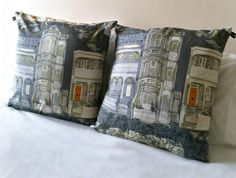 Custom listing for Zenner: Two vintage cotton 'villas' cushion Cute Stationery, Cushion Fabric, Vintage Cotton, Old Houses, Villas, Feels, Cushions, Throw Pillows, Rugs