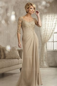 Sheath/Column V-neck Floor-length Chiffon Mother of the Bride Dress