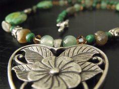 Green Lampwork Heart Necklace