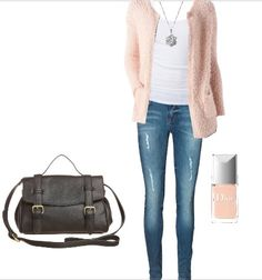 cardigan outfit in light spring colors