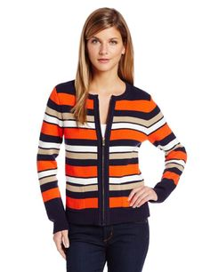Jones New York Women's Petite Long Sleeve Crew Zip Front Jacket - Clementin