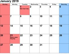 108 Best January 2019 Calendar Printable Templates Images