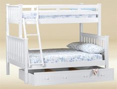 Browsing for Landon White Mission Twin Full Bunk Bed for girls bedroom. Shop for the best deal on white beds on Just Bunk Beds Twin Full Bunk Bed, Girls Bunk Beds, White Bunk Beds, Wood Bunk Beds, Bunk Beds With Stairs, Girls Bedroom, Under Bed, White Bedding, Space Saving