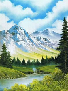 Bob Ross landscape painting with a discount! On Sunday afternoon 5 th of april 2013 between 1 P.M at studio Fata Morgana . Watercolor Landscape, Landscape Art, Landscape Paintings, Oil Paintings, Landscape Sketch, Landscape Drawings, Watercolor Artists, Indian Paintings, Nature Paintings
