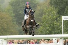 Burghley 2014 Allison Springer flying and looking for the next jump