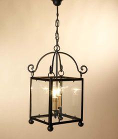 Farol Pompeya 2 luces con cristal, se puede cambiar el color de la forja