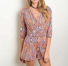 Quarter Pinktuck Sleeve V-Neck Geo-Print Smocked Waist Fashion Romper Sz 4 6 8 #Fashion #Romper