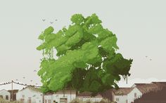 Project Tsiobe Pixel illustration of the banyan tree at the upper end of Town Shima (Tsiobe). Based on a photo I took in Pixel Animation, Isometric Art, Art Thou, Tree Illustration, Illustrations And Posters, Tree Art, Beautiful Artwork, Art Tutorials, Pixel Art