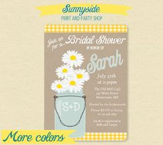 Daisy Mason Jar with Gingham Ribbon. We purchased this style (personalized for our Rehearsal Dinner, digital Invitations) along with printed Table Menus and matching Seed packets with Daisies.  So cute!