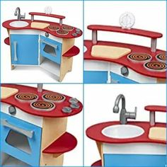 Compact wooden kitchen with realistic details to stir up imaginations. Sturdy wooden construction to satisfy every appetite for pretend play! Wooden Kitchen Set, Toy Kitchen, Kitchen Sets, Wooden Playset, Toddler Gifts, Cooking With Kids, Ebay, Toys, Table