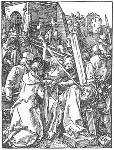 Small Passion: 21. Christ Bearing the Cross. Durer. 1509. Woodcut. British Museum. London.