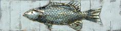 Trendykunst presenteert dit prachtige schilderij van een vis.  Metalen 3D schilderij