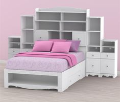 Pixel Full Size Bed with storage headboard and pink cushions