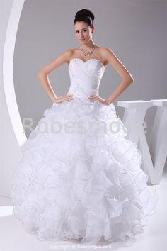 Robe de mariée ornée d´appliques cascade volants corset arrière en satin et organza € 208.99