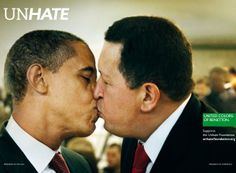 """The Benetton """"UNHATE"""" campaign—which includes an execution of Barack Obama smooching Hugo Chávez—just won the Press Grand Prix Lion at Cannes. Barack Obama, Grand Prix, Photomontage, Cannes Lions, Amor Universal, Funny Commercials, Funny Ads, Hilarious, Stars"""
