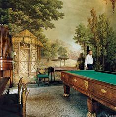 Prince Gallarati Scotti at Villa Melzi d'Eril, Lake Como Ikea Malm, George Clooney, Comer See, Room Screen, Billiard Room, Painted Floors, Lake Como, Tropical Leaves, Pattern Wallpaper