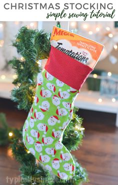 A simple sewing tutorial to make a stocking for your favorite furry friends! Stuff it with a few bags of Temptations® Classics treats from @walmart for a Christmas gift your cat is sure to love! #PAWsomeGifts #ClausAndPaws #ad