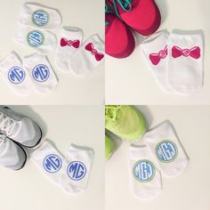 Custom Monogrammed Low Rise Socks - Set of 3
